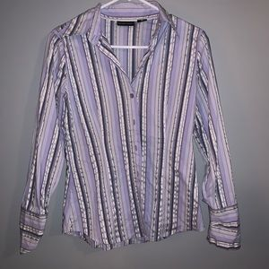 New York & Co Purple and Black Striped Button Up